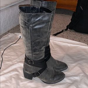 Shoes - Stone and black strap boots.